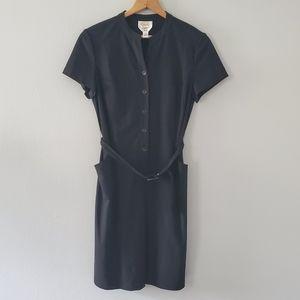 Talbots Black Button Down Belted Dress